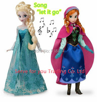 2Pcs/Lot 30CM Princess Brinquedos Elsa doll Anna Doll Music Toys Sing Let It Go Princess Elsa Anna doll olaf as Gifts For Girls