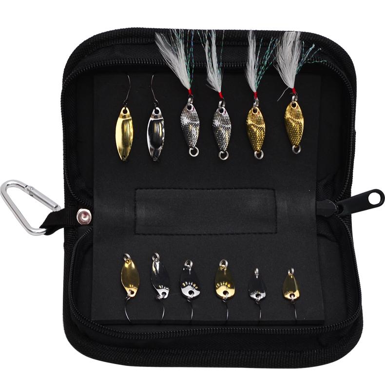 13 Pieces Lot Trulinoya paillette set bag metal fishing bait trout paillette 12 spoon fishing lure