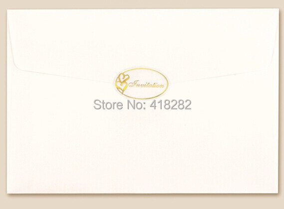 Free shipping 60pcs lot 3523mm gold envelope sticker high for Best quality wedding invitations online