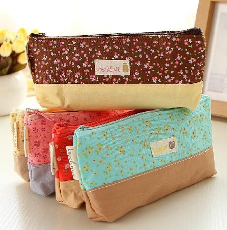 Cute Fabric Cotton Flower Pencil Case Kawaii Cartoon Pink Trojan Pencil Bag Stationery for School Girl stationery supplies<br><br>Aliexpress