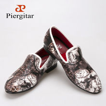 Piergitar 2016 new style Leopard and Flower printing men's loafers comfortable red cotton insole Men fashion casual shoes (China (Mainland))