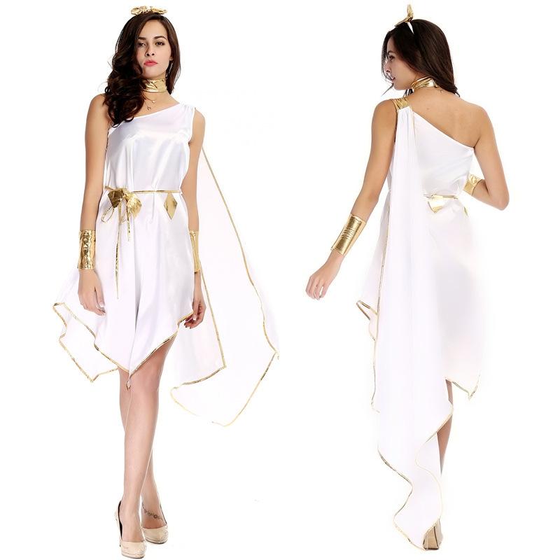 NEW!! Halloween Ladies Sexy Roman Goddess Fancy Dress Costumes, Adults Women Greek Egyptian Fever Goddess Spartan Toga Costume(China (Mainland))