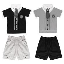cheapest children baby boys short clothes suits set kids gentleman summer shirt tshirt+ pants+tie sets suit(China (Mainland))