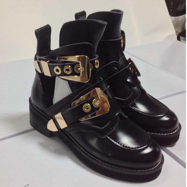flat black ankle boots with buckles images