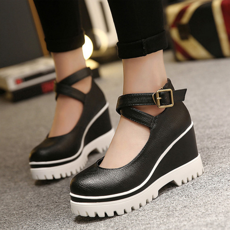 New Spring Women Wedge Shoes Casual Platform Ladies Shoes High Heel Fashion Black Ankle Strap Leather Shoes Woman