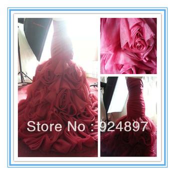 2013 New Arriva Wine Red Organza Ruffle Skirt Mermaid Wedding Dresses 2013 (WDS-1025)