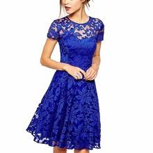 Fashion Women Floral Lace Dress Short Sleeve Summer Party Mini Dresses Lady vestidos(China (Mainland))