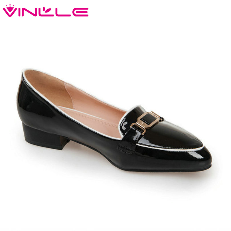 VINLLE 2015 the spring autumn soft women pumps fashion Metal buckle single shoes leisure low heel  women shoes size 34-39<br><br>Aliexpress