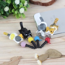 2016 HOIT Super Cute Dust Plug Lucky Cat Playing Ball 3.5mm Anti Dust Earphone Jack Plug Stopper Cap For Phone Wholesale(China (Mainland))