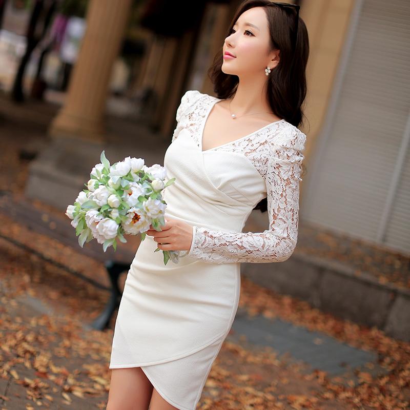 Original 2016 Brand Spring Autumn Robe Plus Size Women Clothes Long Sleeve Slim Elegant Casual Short Women Lace Dress Wholesale(China (Mainland))
