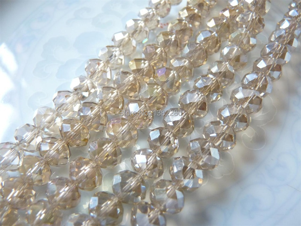 Free shipping! Crystal Glass Loose Beads Oval Transparent Faceted 6x8mm 2 Strands(approx 72PCs/Strand) JT5206(China (Mainland))