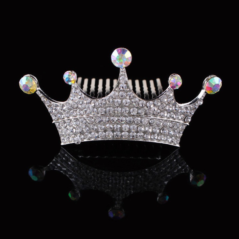 bride wedding hair accessories elegant simple crystal queen crown tiara rhinestones hair comb for women(China (Mainland))