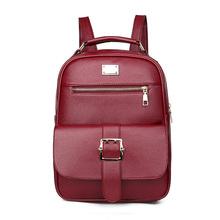 Las mujeres mochila Simple y cómodo elegante Neutral, bolso de mujer de cuero de la Pu mochila espalda suave negocio bolso de la computadora(China)