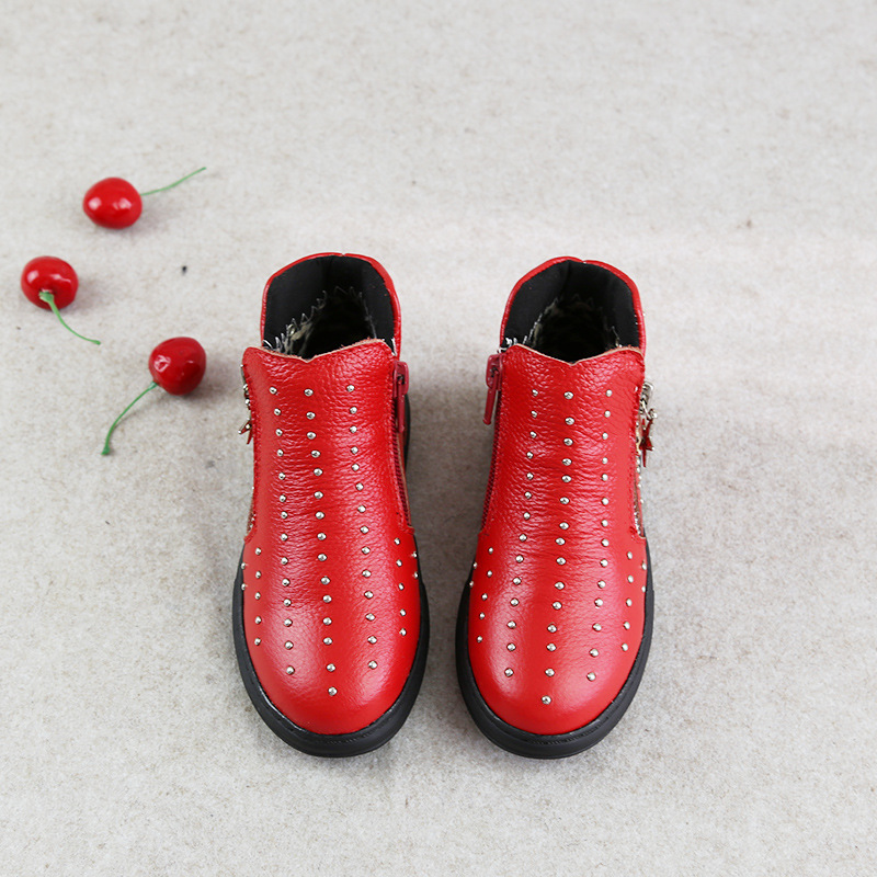 2016 autumn new leather boots children boys and girls thick boots Martin boots fashion rivet black boots baby shoes(China (Mainland))