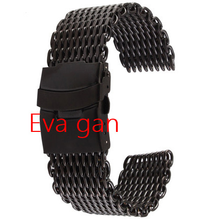 Black Stainless steel shark mesh watch deployment strap band bracelet 18mm 20mm 22mm 24mm - Eva accessories store