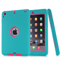New Version Shockproof Heavy Duty Protective Hybrid Case Cover for iPad Mini 1/2/3 Safe Stand 3 In 1 Silicone Case Cover