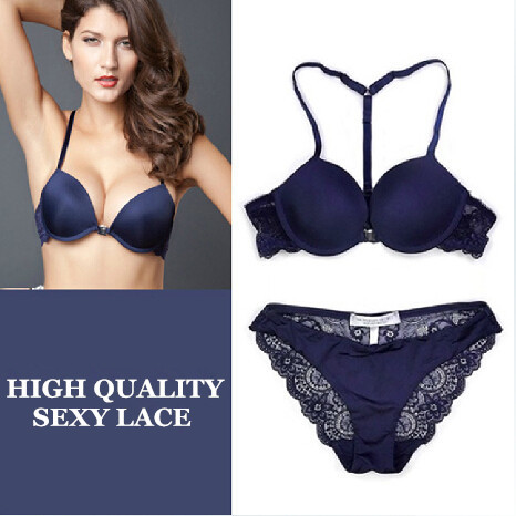 Intimates Free Shipping 2014 New Women Sexy Y-line Straps Bra Sets Front Closure BRA + Hollow out Panties Lace Sexy BRA SETS