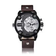2016 luxury brand watch men military watch Big dial leather watch men waterproof calendar male watches with multiple time zones
