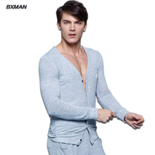 BXMAN Brand Men's High Quality Pijamas Hombre Casual Pajamas Sets Knit Cotton Solid V-Neck Full Sleeve Men Pajamas Sets 53 (China (Mainland))