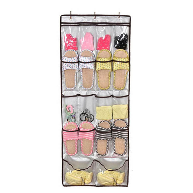 18/22 Pockets Wall-mounted Shoes Hanging Organizer Bedroom Shoe Rack Clear Over Door Hanging Bag Closet Hanging Storage Bag(China (Mainland))