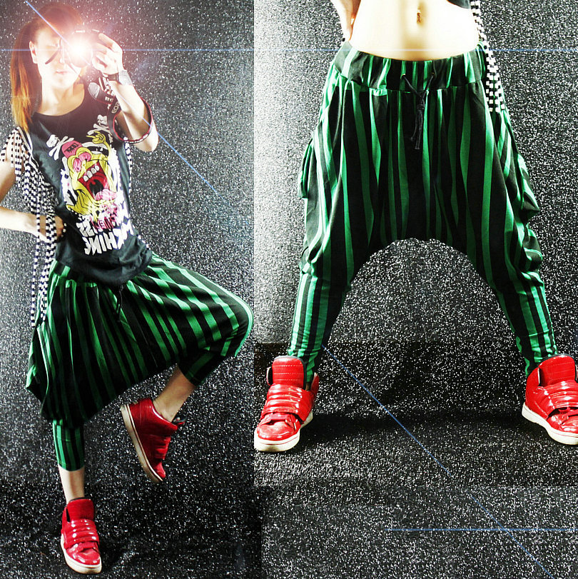 Creative New Fashion Brand Jazz Harem Women Hip Hop Pants Dance Doodle Spring And Summer Loose Neon ...