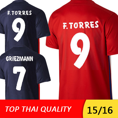 Camisetas de futbol GRIEZMANN Soccer Jerseys 2015 2016 ARDA FERNANDO TORRES MANDZUKIC Camisa 15 16 Spain Jersey football shirt(China (Mainland))