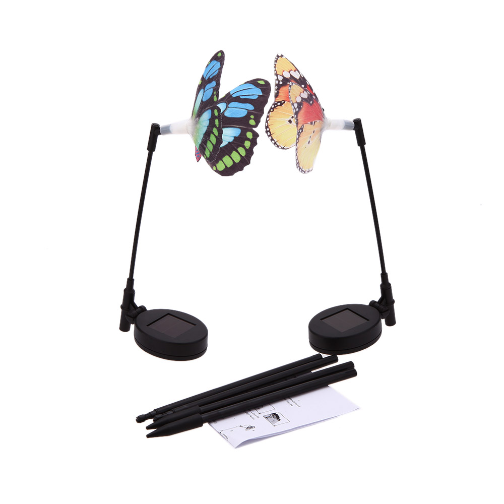 2 Pcs Rechargeable Solar Power Fibre Optical with Photo Cell Light Sensor Butterfly RGB Color Changing Light Outdoor Lighting(China (Mainland))