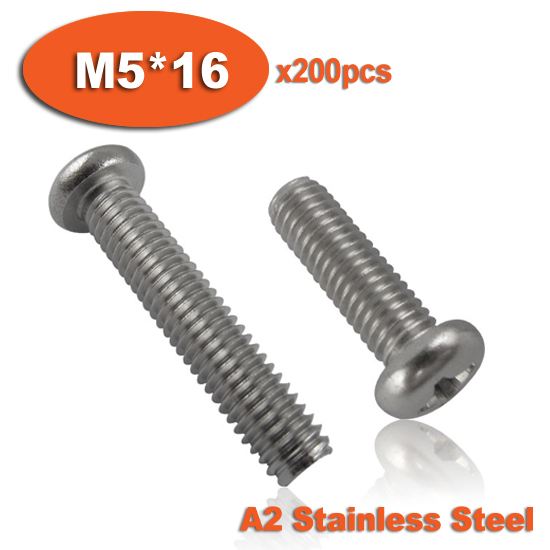 200pcs DIN7985 M5 x 16 A2 Stainless Steel Pan Head Phillips Screw Cross Recessed Raised Cheese Head Screws(China (Mainland))