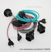 2.5m CE VDE Certified Pendant Lamp Cord Sets Euro Plug With Dimmer Switch With Bakelite Lampholder E27(China (Mainland))