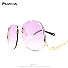 KL1601 Cramilo vintage metal retro women rimless oversize sunglasses