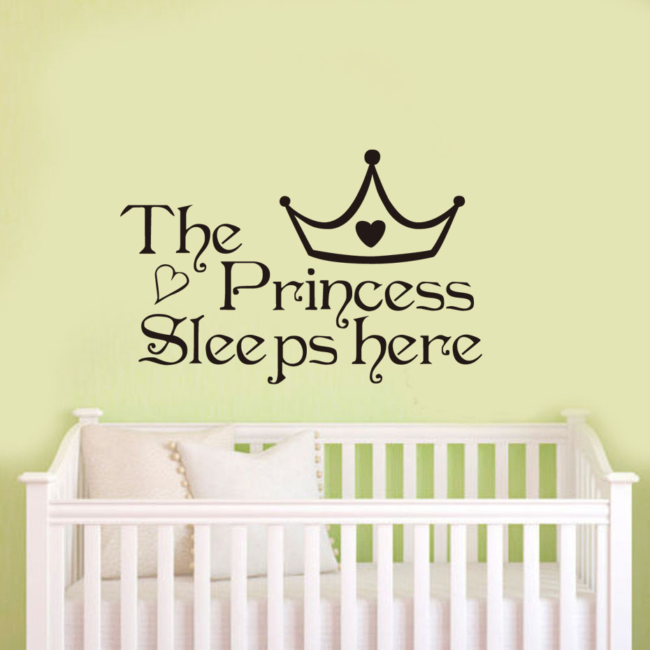 DCTOP The Princess Sleeps Here Black Vinyl Wall Sticker Home Decoration Bedroom Wallpaper Wall Art Decor Living Room Girl Murals(China (Mainland))
