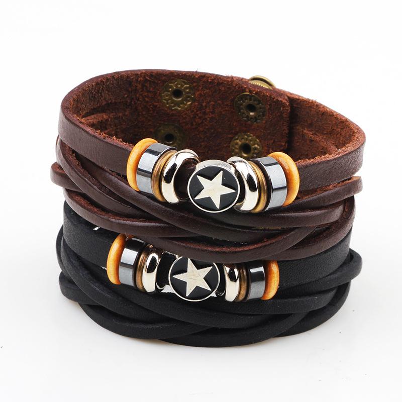 2016 Black Coffee Punk Bracelet for men Multilayer Leather Braccelet Charm Bracelet Adjustable(China (Mainland))