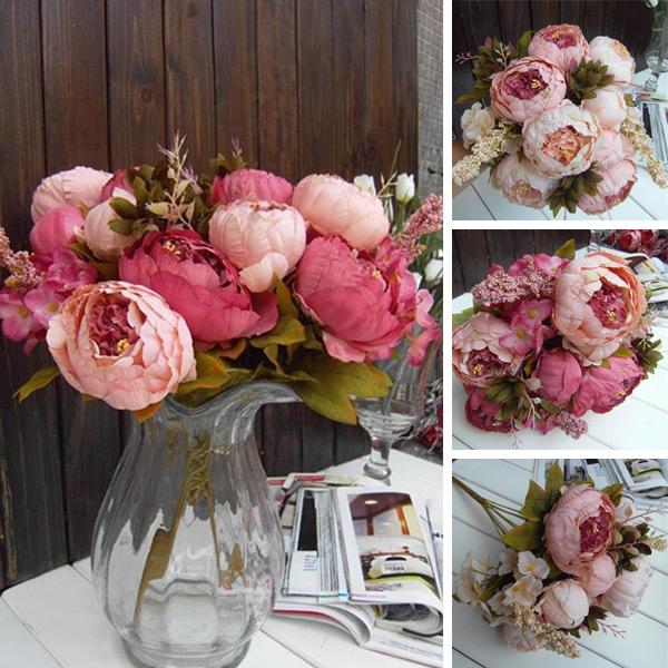 2 Color 1xBouquet Elegant Artificial Peony Silk Flowers Floral 8 Head Home Wedding Decor Decoration(China (Mainland))