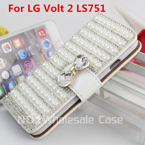 Fashion Luxury Flip Phone Leather Wallet Case Cover For LG Volt 2 LS751+Usb+Dust Case With Credit Card Free Shippin(China (Mainland))