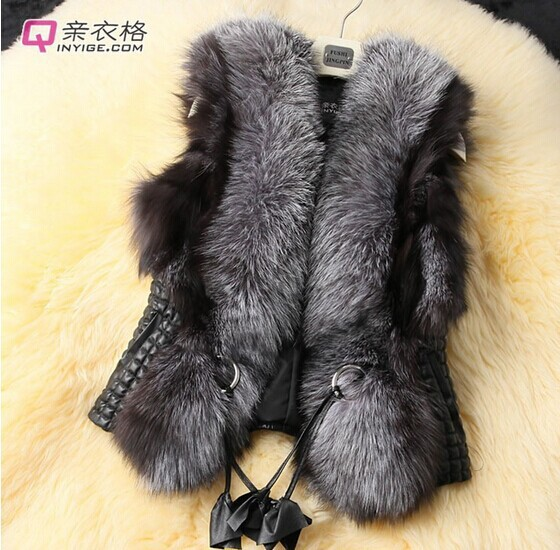 2017 Faux Fur Vest Women Winter Warm Sleeveless Coats Outerwear Fox Leather Slim Waistcoat Elegant Jacket G443 - dabeina fashion store