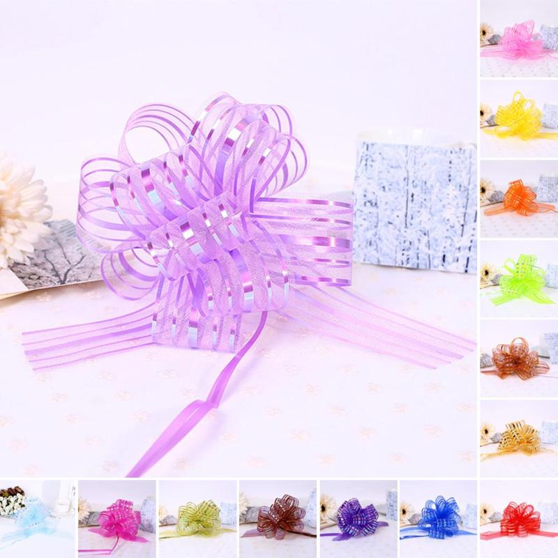 10 pcs gift lace party day gift packaging garland pull flowers ribbon wedding birthday valentines decor 3cm pull bows beauty w5