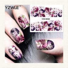 Yzwle 1 folha DIY Designer transferência de água Nails Art etiqueta / decalques de água prego / Nail Stickers acessórios YZW-8068