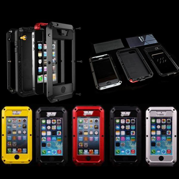 Luxury Dirt proof Shockproof Waterproof Case For iphone 4 4s 5 5s Heavy Duty Armor Aluminum Metal Cover Gorilla Glass Hard Cover(China (Mainland))
