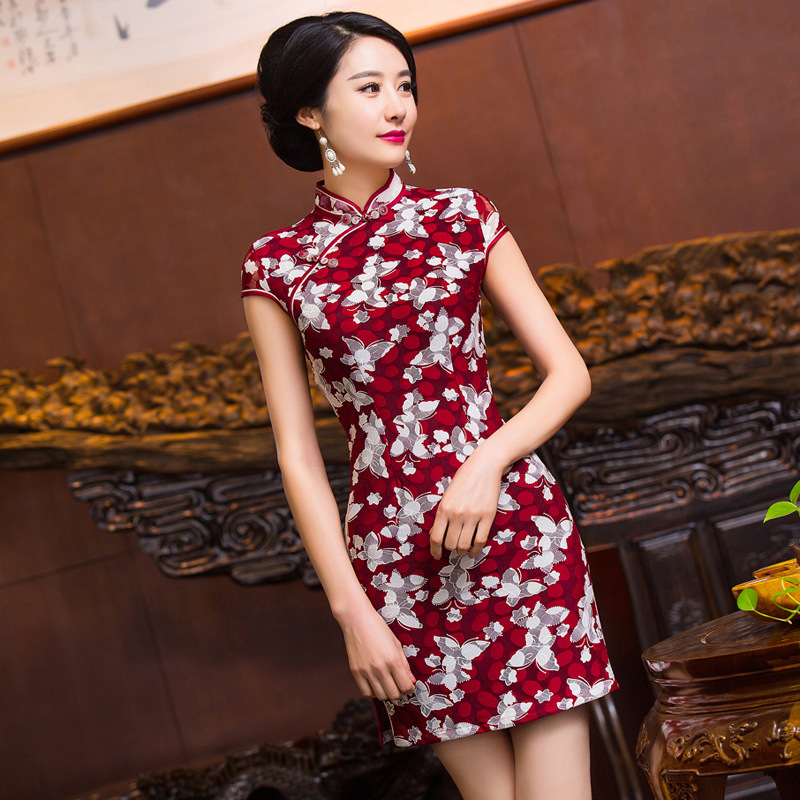 New Arrival Chinese Traditional Womens Mandarin Collar Cotton Linen Qipao Mini Cheong-sam Dress S M L XL XXL F201661Одежда и ак�е��уары<br><br><br>Aliexpress