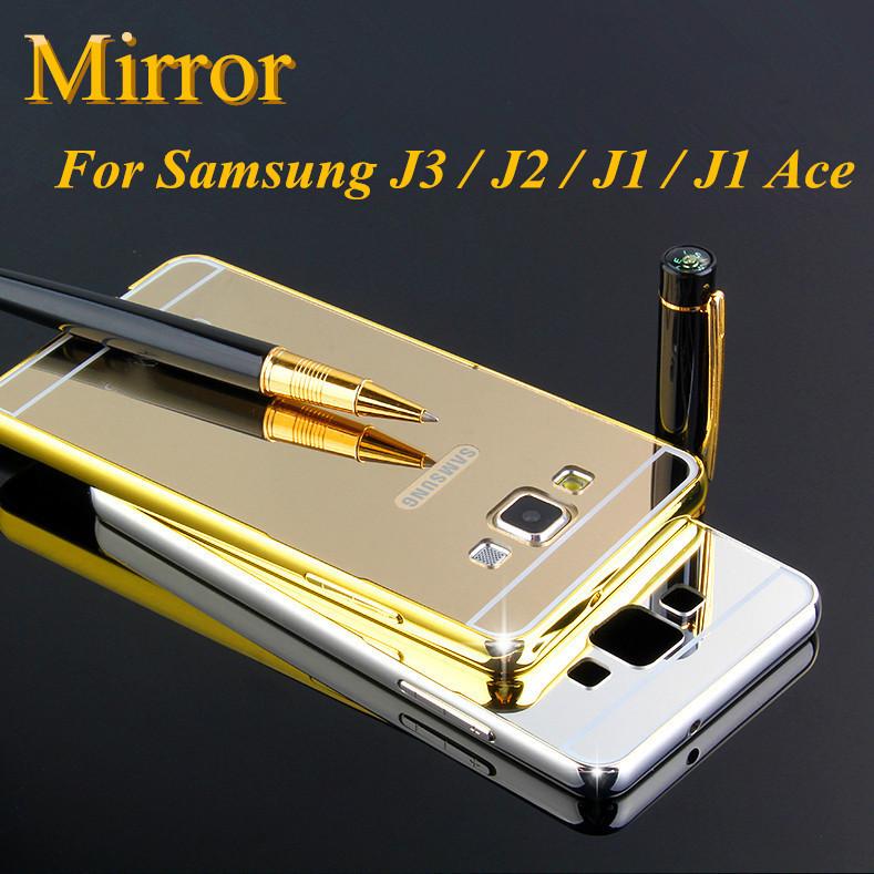 Edge Metal Aluminum + Acrylic Hard Mirror Back Bumper For Samsung Galaxy J 3 2 1 J3 J2 J1 Ace Hybrid Cover Ultra Thin 1mm Cases