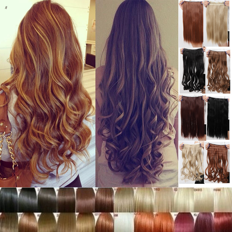 Long Clip in Hair Extensions One Piece 24 inch 60CM Curly Black Brown Blonde women hair piece of Hair Extentions(China (Mainland))