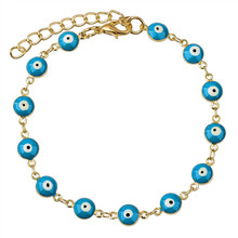 2015 Brand Fashion Gold Plated Chain Evil Eye Bracelets Bangles Blue Resin Enamel Friendship Bracelets For Women Jewelry(China (Mainland))