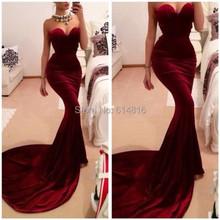 Robe de soiree borgogna sirena prom dresses 2016 donne lungo treno dotato di vino rosso velluto abito da sera vestido de festa(China (Mainland))
