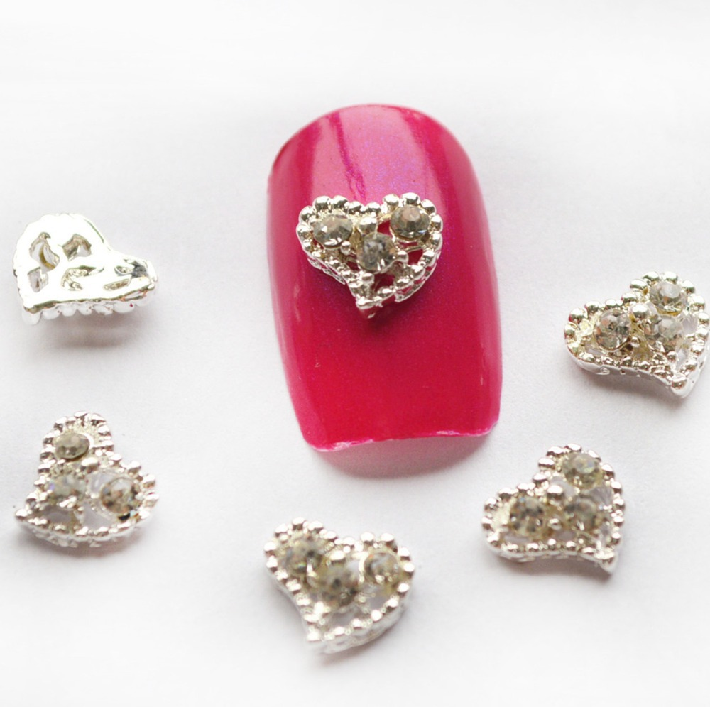 5pcs alloy 3d charms nail decorations silver