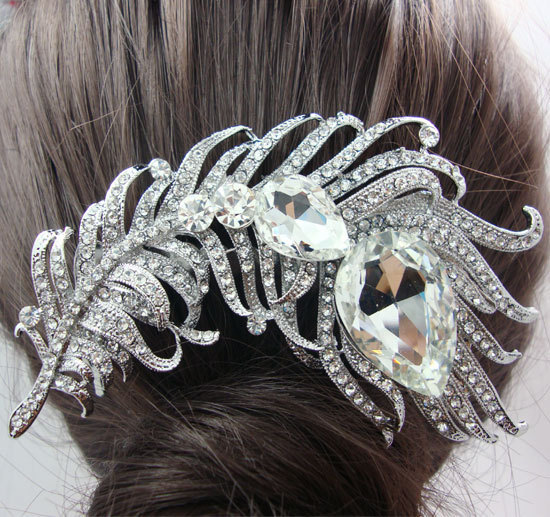 Bridal Hair Accessories Peacock Feather Clear Rhinestone Crystal(China (Mainland))