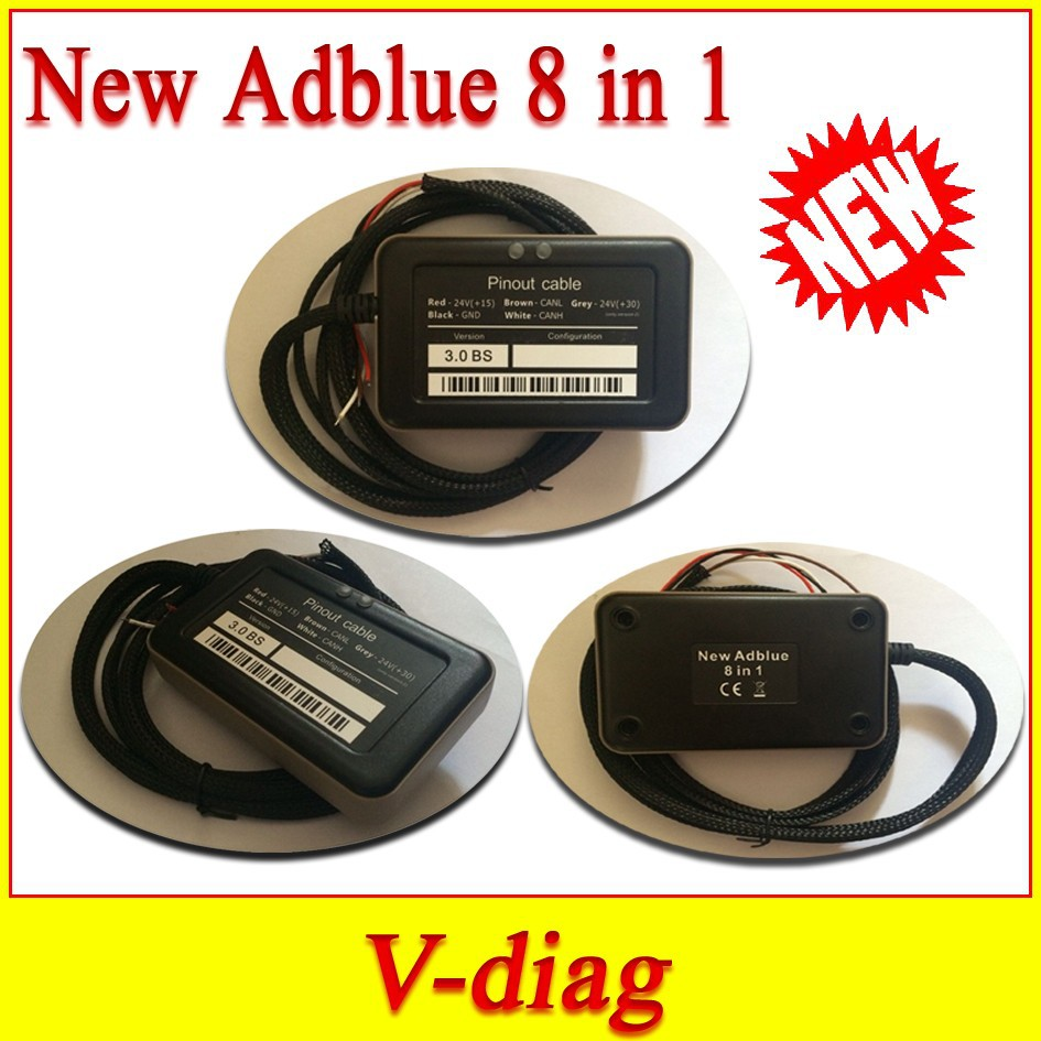 VERY NEWST NOx sensor emulation Adblue emulator 8 in1 trucks support MAN,Iveco,Renaut, DAF, Scania/fod/bnz/v-olvo freeshipping(China (Mainland))
