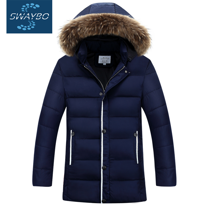 Long Fur Hooded Cotton Down Parkas Mens 2016 Wind Breaker Winter Jacket Big Size Heavy Feather Coats Young Male Brand Sport 8608(China (Mainland))