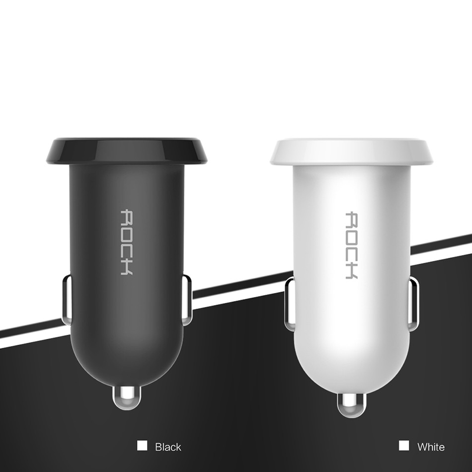 Dual Usb Car Charger Adapter Rock 2 usb Port Led 2.4A Smart Car-charger for Iphone Samsung Phone car charging accessories