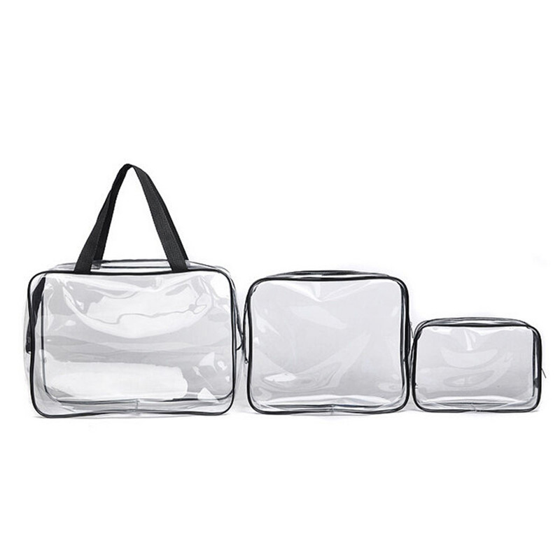 New Home Storage Bags Clear Cosmetic Toiletry PVC Travel Wash Makeup Bag 3pcs Brand high quality free shipping(China (Mainland))