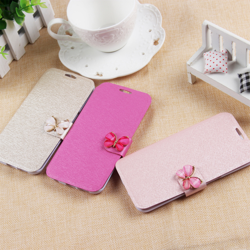 PU Leather Case for Samsung Galaxy S6 Edge Silk Pattern Flip Kickstand Butterfly Diamond Leather Case for Samsung S6 Edge(China (Mainland))